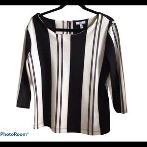 Jules & Leopold Classic Striped Black White Blouse